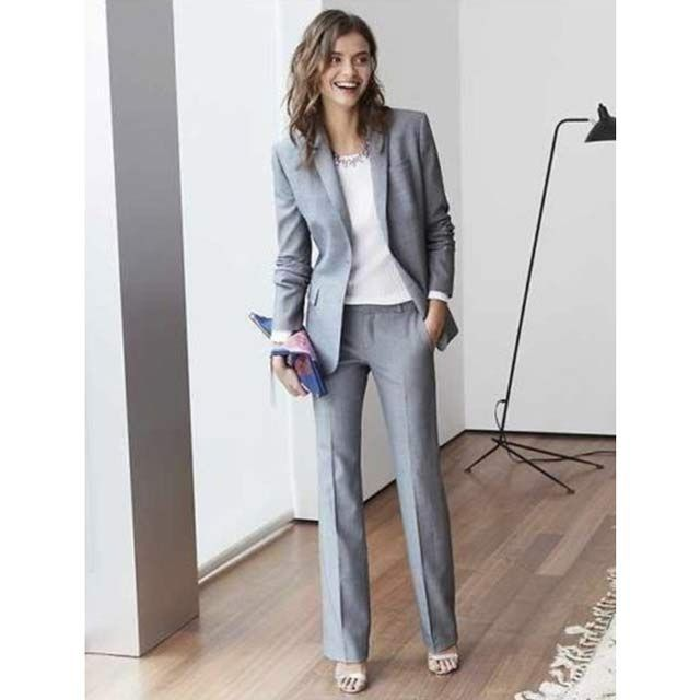 Light grey classic fit twill business suit trousers