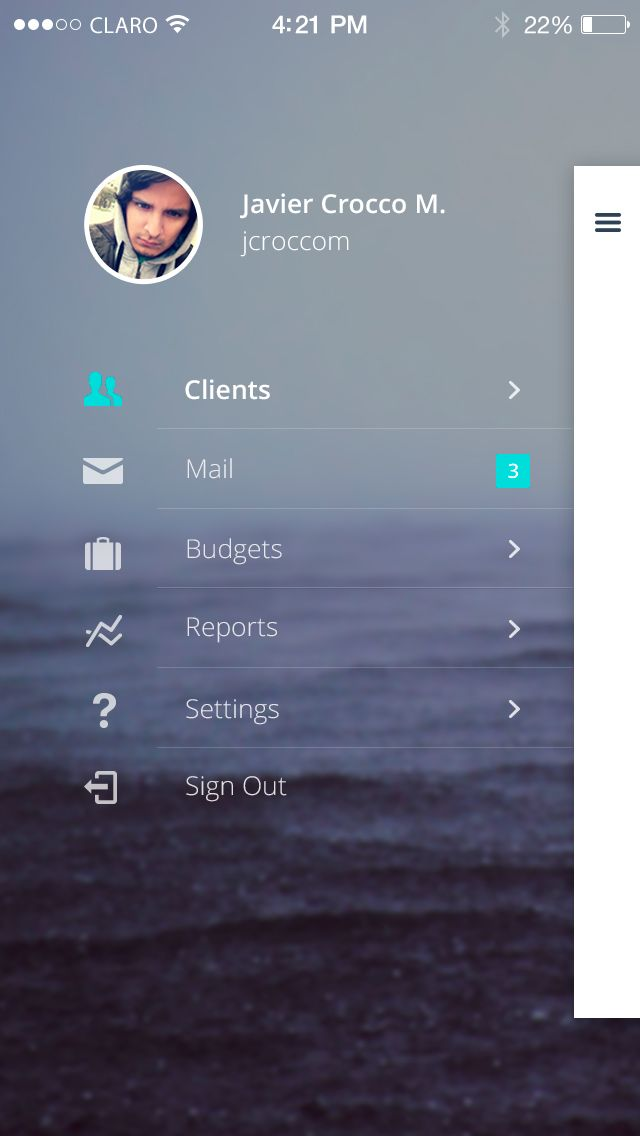 Sperant_Mobile_Sidebar_2.jpg (640×1136) #sidebar #mobile #design #ux #ui #interaction