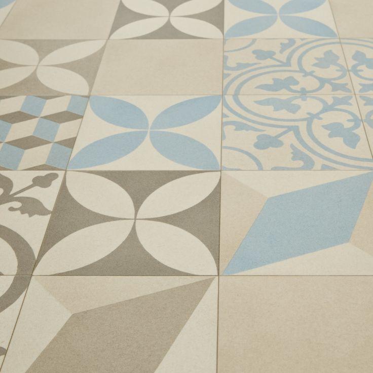 £12.99pm2 Mardi Gras 533 Filez Moroccan Patterned Tile Vinyl Flooring Carpet Right UK