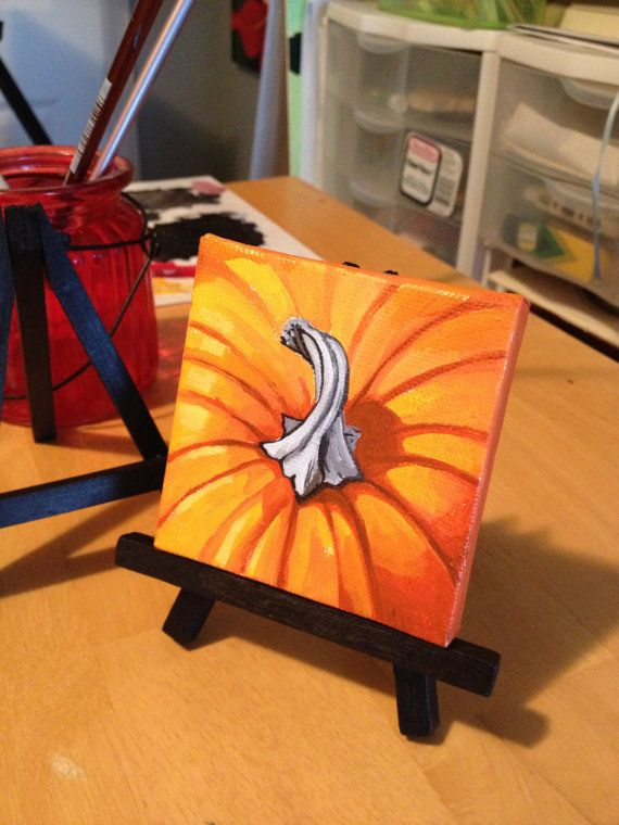 Pumpkin Mini Painting- Original Acrylic -Fall Decoration on Etsy, $17.00