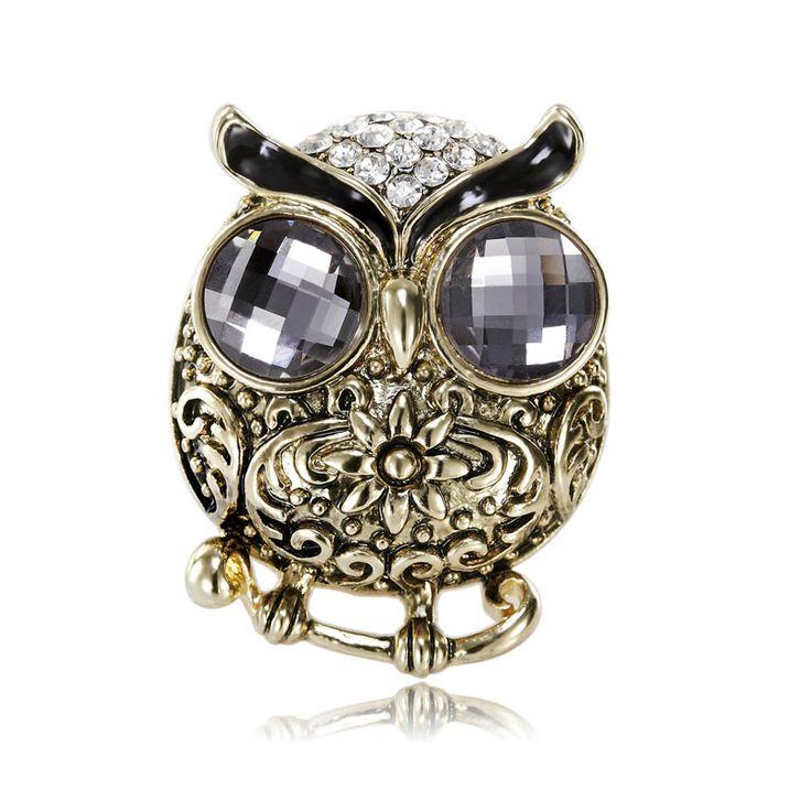 Crystal Retro Owl Scarf Ring Gold