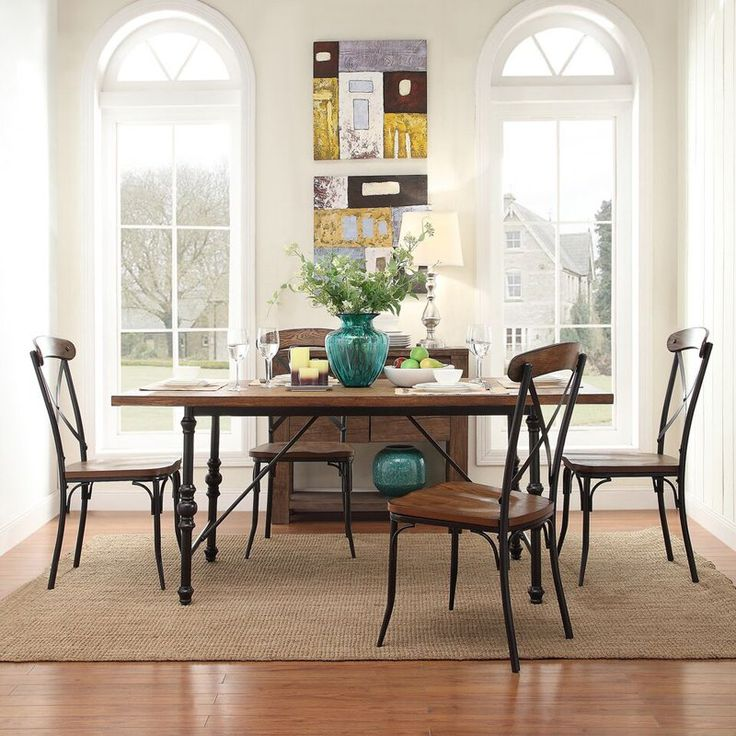 Homelegance 5 Piece Industrial Dining Set With X Back Chairs   5099 72(
