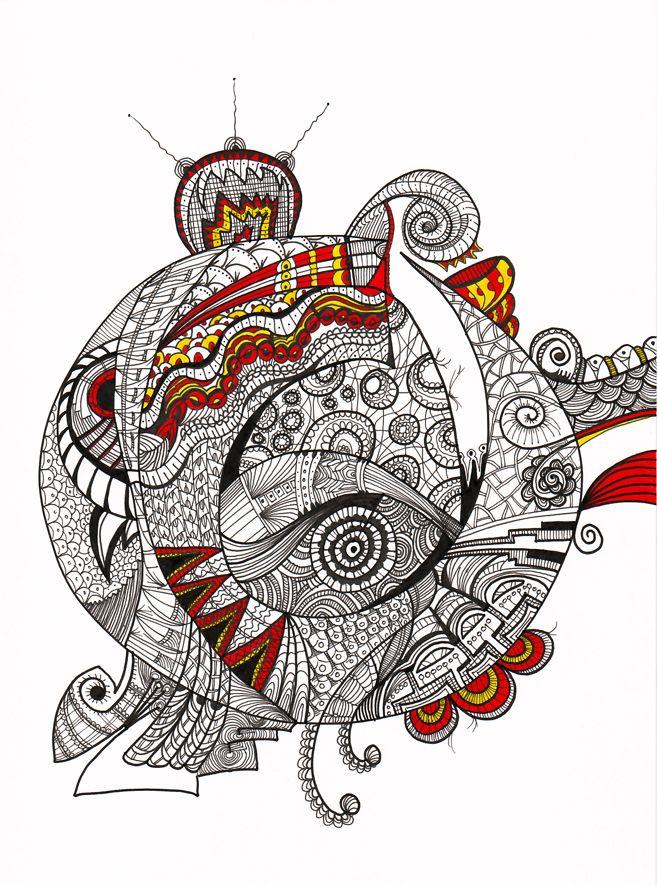 """""""Pez globo"""" Serie Animales e Insectos Tintas-color sobre cartulina Año: 2008"""