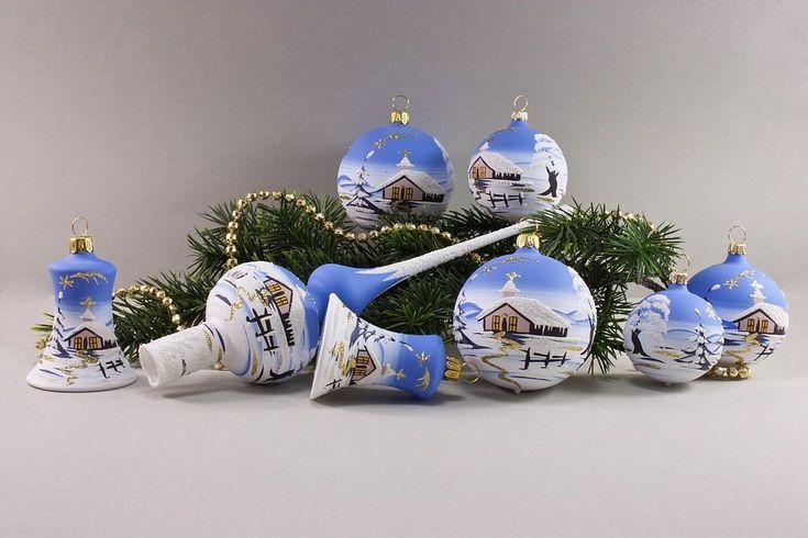 21tlg. Set Christbaumschmuck mit Winterlandschaft hellblau - Christbaumschmuck und Weihnachtskugeln aus Glas
