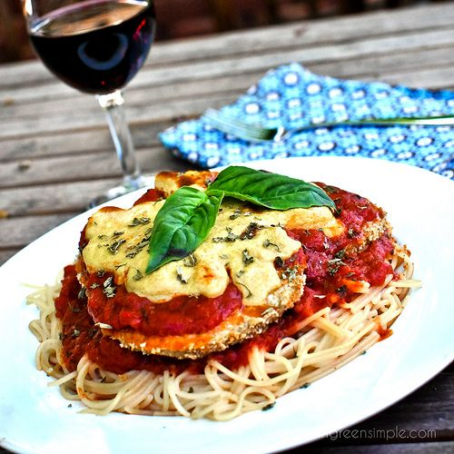 """Vegan Baked Eggplant """"Parmesan"""" - with any allergy-friendly noodle (GF/Corn-free/Soy-free/Nut-free/Oil-free) #recipe"""
