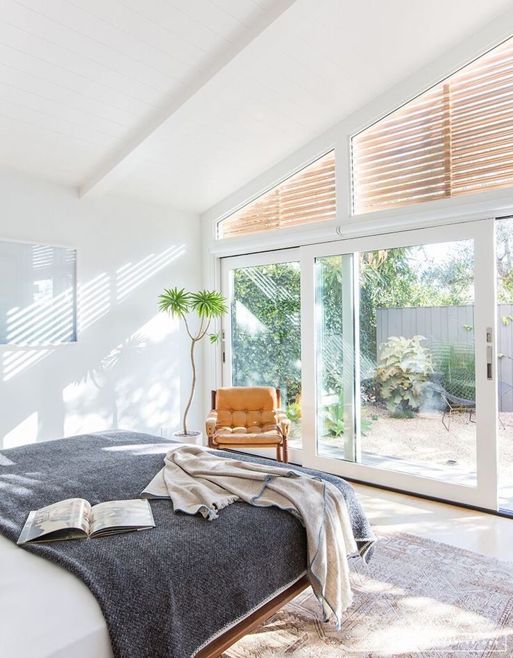 Minimalist Mid-Century Bedroom with grey blanket