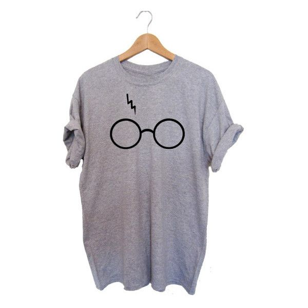 Women's G173 Ladies Women Harry Potter Glasses Cute Print Short Sleeve... ($11) ❤ liked on Polyvore featuring tops, t-shirts, black, tops & tees, patterned tops, print t shirts, mixed print top, print tees and pattern t shirt