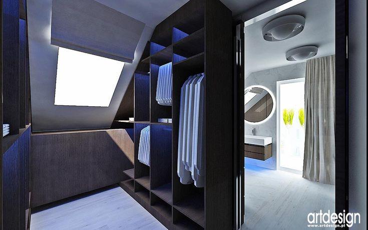 garderoba projekty wnętrz z łazienką aranzacje