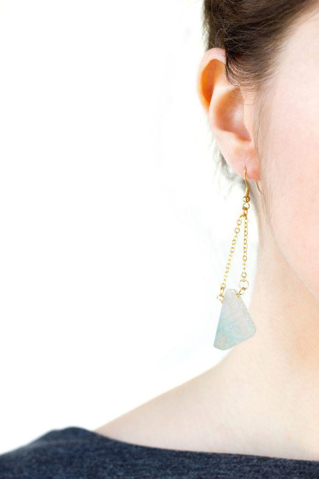 Perfect gift for best friend. Amazing Dangle Earrings – Geode light green agate earrings – a unique product by Nuann via en.DaWanda.com
