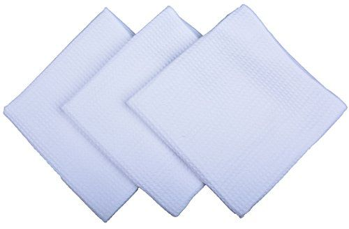 Sinland Kitchen Towels Microfiber Waffle Weave Hand Towels wash cloths White tea Towels 16 Inch X 16 Inch 3 Pack ** Learn more by visiting the image link.