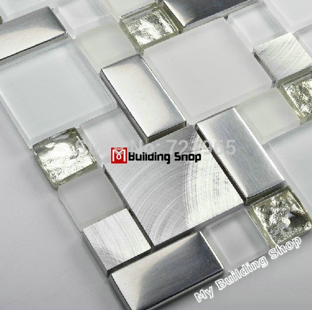 vetro piastrelle backsplash cucina mosaico SSMT104 d'argento del metallo dell'acciaio inossidabile mosaici di cristallo bianco mosaico di vetro piastrelle del bagno in camera in              How to install my tiles?  da Mosaico su AliExpress.com | Gruppo Alibaba