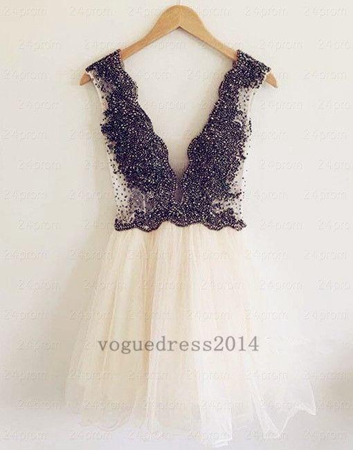 Custom Made Beaded Short Prom Dress, Homecoming Dress – 24prom #prom #promdress #shortpromdress