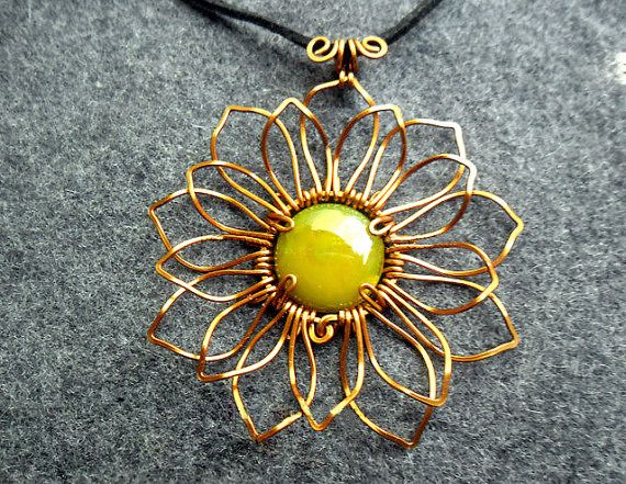 SUNFLOWER PENDANT copper combined with 1 yellow agate - copper jewelry - wire jewelry - buy 3 get FreeShipping -