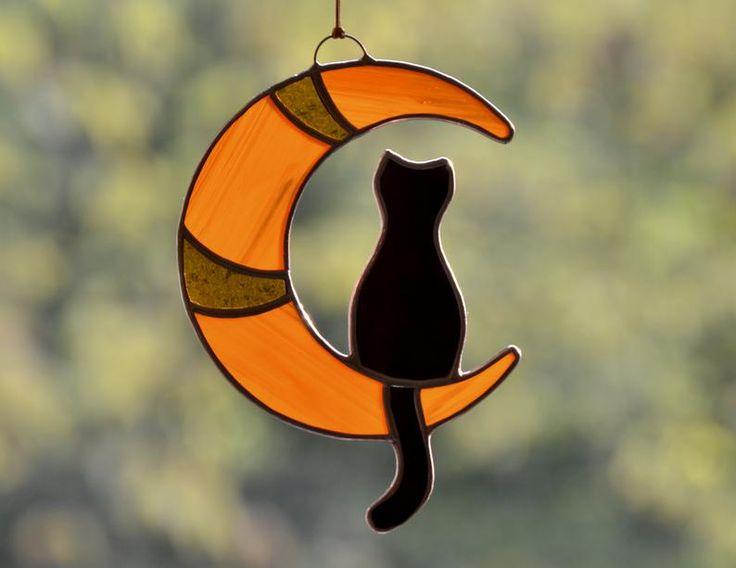 Stained glass black cat Halloween decor, window hanging suncatcher, Tiffany glass art, Halloween home decor