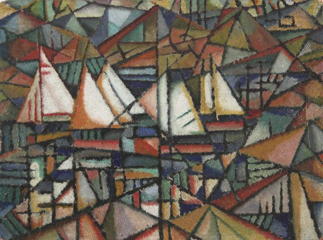 Untitled (boats), 1913 by Amadeo de Souza-Cardoso. Cubism. marina