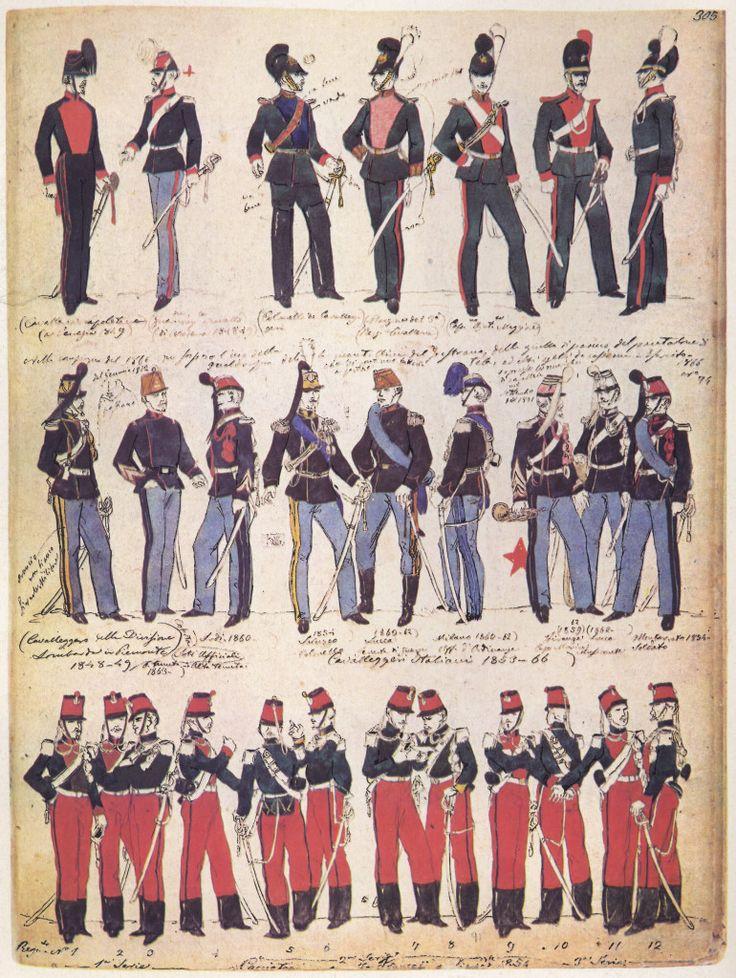 03 Uniformi in uso negli anni 1860 e precedenti, anche estere.