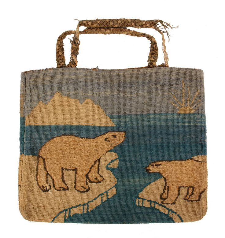 """GRENFELL BAG - Two-Sided Circa 1910 Native-made Bag, Grenfell Industries, Labrador, with braided handle. 10"""" x 12"""". Losses to handle, half ring of white paint on one side. The Barrie & Michael Pribyl Collection"""
