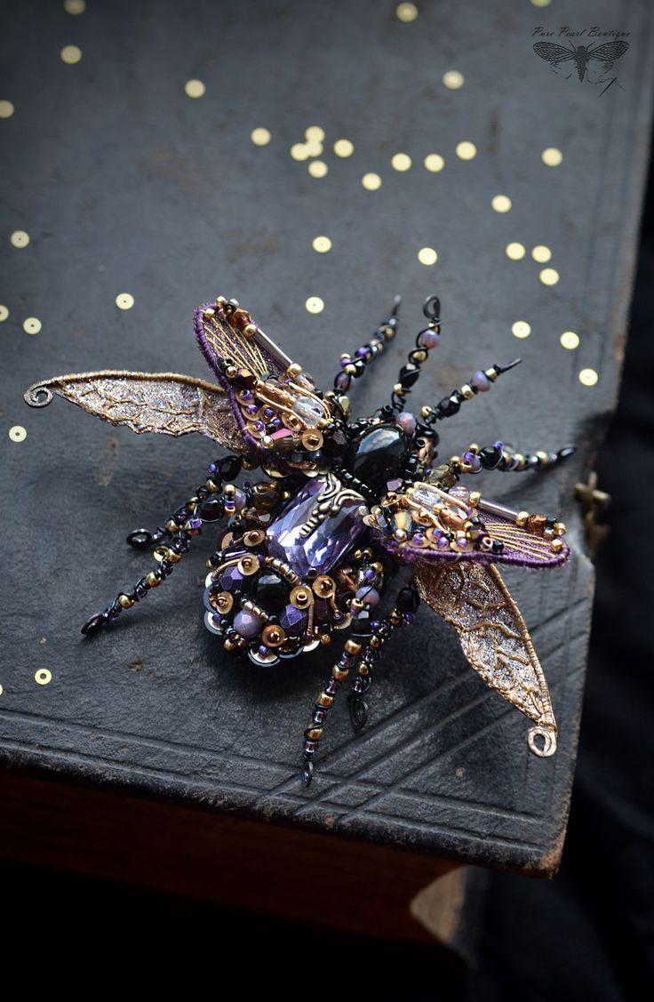 Купить Брошь Жук в ручной вышивке - фиолетовый, жук брошь, вышивка ручная, насекомые