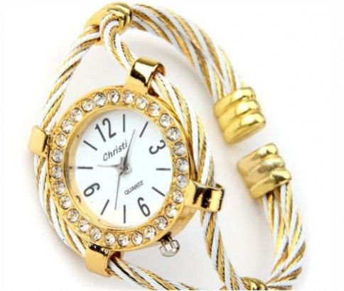 Gold Tone Rope Bangle Watch with Crystal