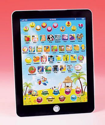 This Educational Learning Pad is a multimedia device that's full of buttons, color and sound. It talks and features letter, word and number buttons that teach c