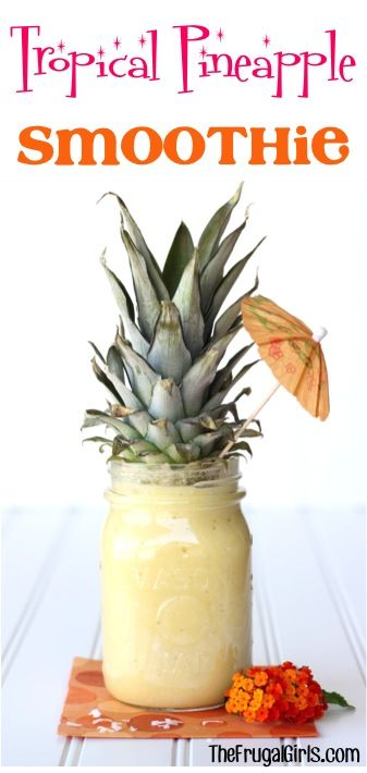 Pineapple+Smoothie+Recipe! Nope, just all the goodness of a fresh pineapple and so much more deliciousness… so much that your taste buds might just explode with excitement!  Twist the top off that ol' pineapple and enjoy a yummy Tropical Pineapple Smoothie!  2K+  What You'll Need:   2 cups Fresh Pineapple, cubed {I LOVE using this Pineapple Decorer to keep it easy!} 1 Pina Colada Yoplait Yogurt 1/2 cup Sugar 1/4 cup Coconut Flakes 1 scoop Vanilla Ice Cream 12 Ice Cubes