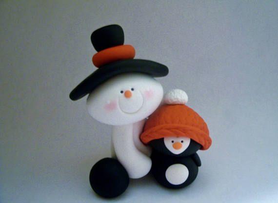 Muñeco de nieve  pingüino  arcilla polimérica  Navidad