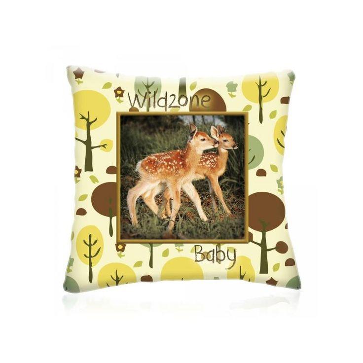 WILD ZONE Baby ŐZIKÉK állatos díszpárna 28x28 cm - Díszpárna.com Webáruház
