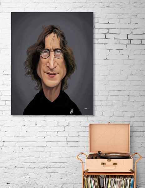 Discover «John Lennon», Numbered Edition Canvas Print by rob art | illustration - art | decor | wall art | inspiration | caricature | home decor | idea | humor | gifts