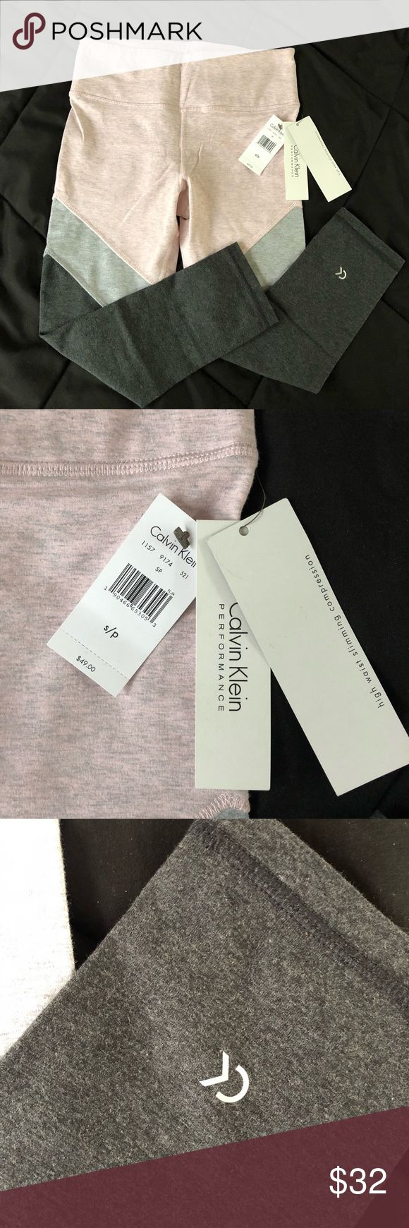 Calvin Klein Performance Leggings From the Calvin Klein Performance line. These are comfortable and fitting. Great for working out, yoga, running, etc. Soft pink, heather grey and charcoal grey color block pattern. Has a pocket for a cards or keys on the waistband. Brand new with tags. They have a small stitching flaw shown in pic. Calvin Klein Pants Leggings