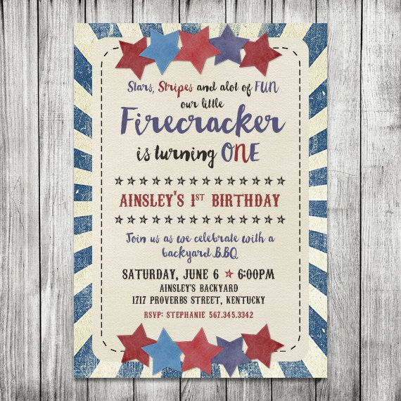 Fourth of July BBQ Invite  First Birthday by CherryBerryDesign