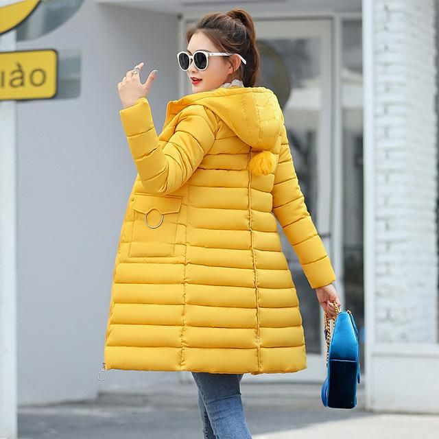 winter jacket 2018 women fashion solid slim fit down jackets thick warm pockets pompom hooded jacket outwear plus size 3 Yellow