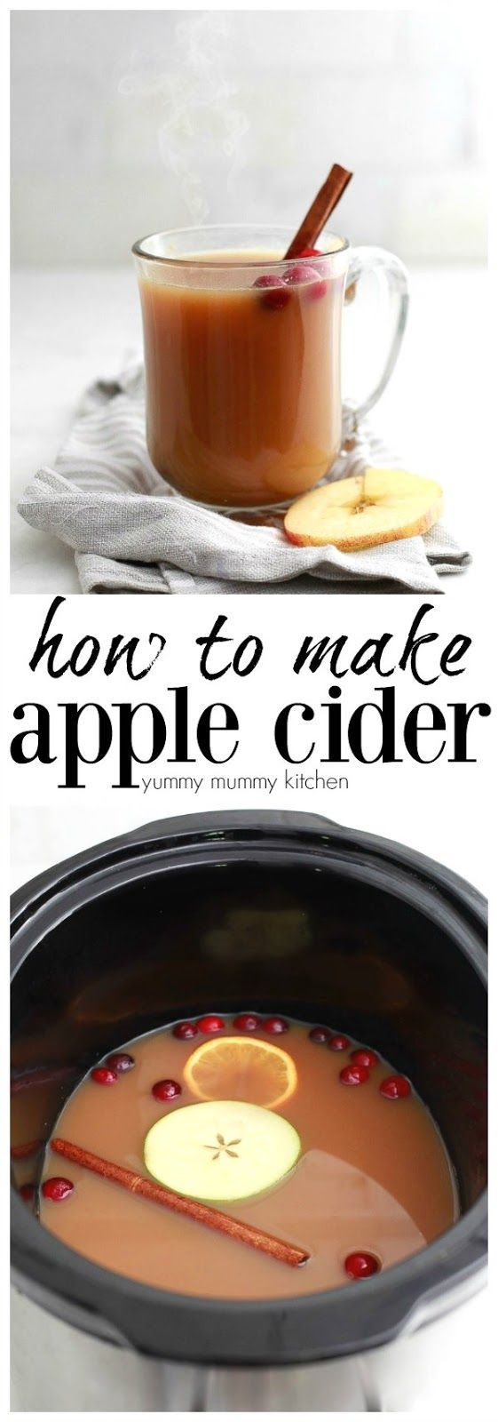 How to make apple cider from scratch. Homemade spiced apple cider is so easy to make and party perfect served from the slow cooker crock pot. #crockpot #applecider #autumn #slowcooker