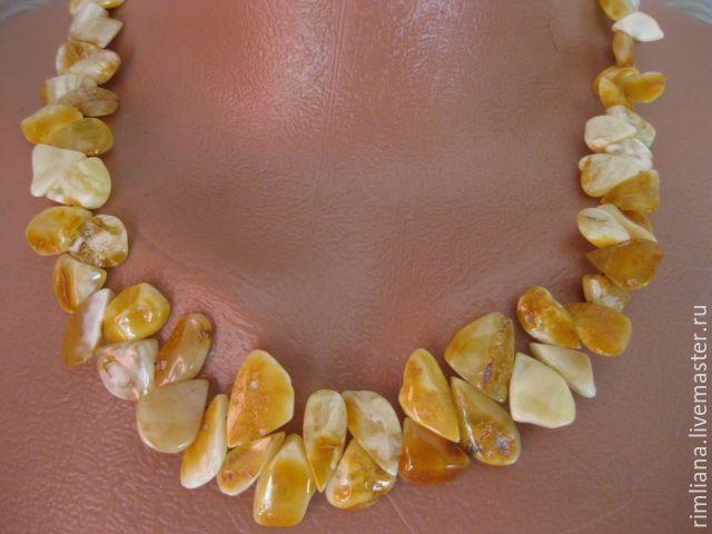 """Купить Янтарное ожерелье """"Янтарная дорожка"""" - природный королевский янтарь…"""