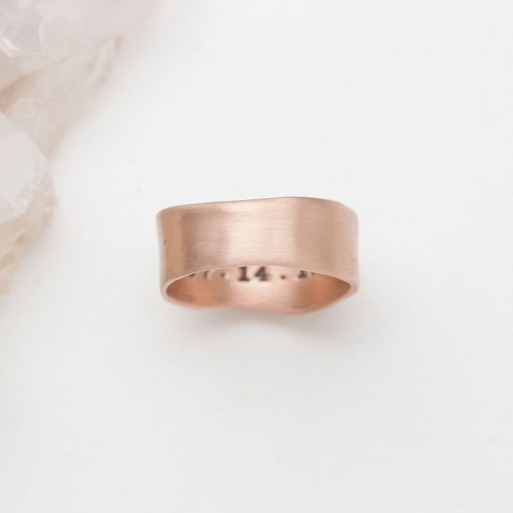 "<p>A whole heart, devoted to another is a beautiful, imperfect thing. I promise to hold you close and keep you safe! This solid 10k rose gold ring is perfect for men and women alike. Customize the inside of the ring with a meaningful name, word, or date. Ring measures just under 1/2"" tall. All ring sizing is universal.</p> <p class=""p1""><span class=""s1"">Your custom piece will be made just for you, exactly as you type it into..."