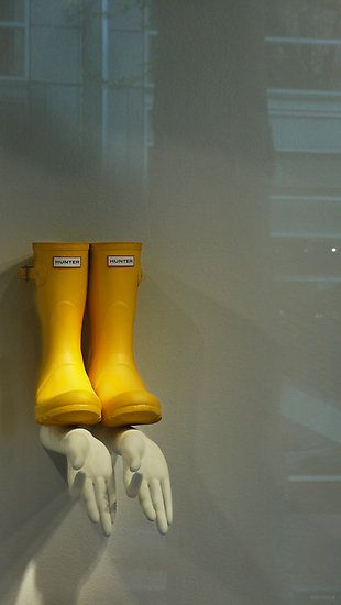 """""""A Store Window in Portland with Yellow Hunter Wellies and Two Left hands"""" by MarkBigelow"""