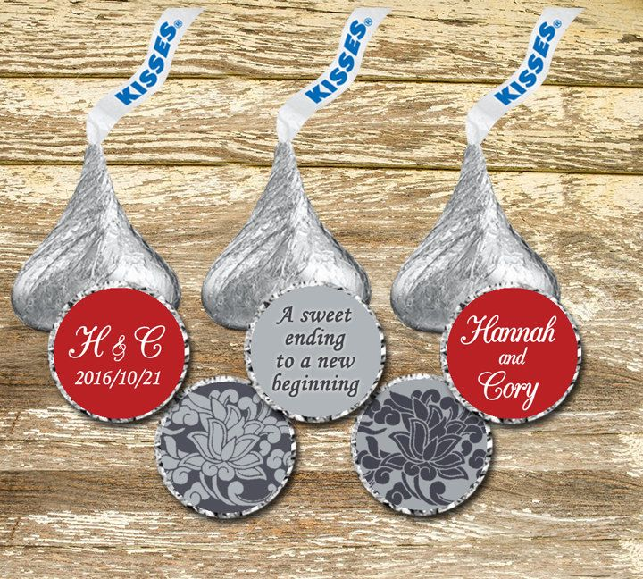 Hershey Kisses Stickers Wedding -  Red and Gray Wedding, Hershey Kiss Label, Personalized Hershey, Hershey Kisses Wedding, Red Wedding Favor by LittlePrintsOttawa on Etsy