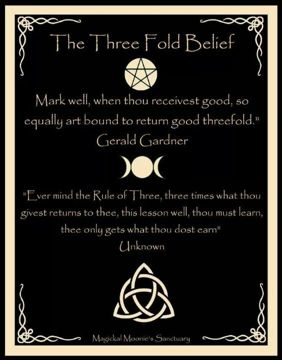 This is a Wiccan concept. It's important to remember that while all Wiccans are witches, not all witches are Wiccan.