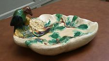 SPECTACULAR MAJOLICA BIRD BATH BOWL LEAVES BIRD & FLOWERS CRAFTSMAN COLORS