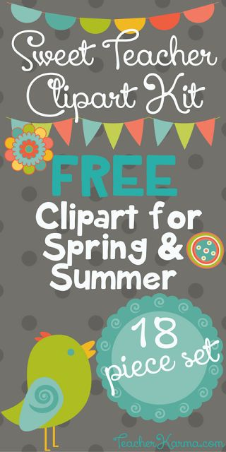 FREE Sweet Teacher Clipart Kit - Perfect for Spring & Summer   Hey y'all! Jen Bradshaw here fromTeacherKARMA.com  I created the free clipart kit to inspire teachers to create something special this Spring and Summer! In the 18 piece set of graphics you will find:  2 frames  bird graphic  4 buntings  3 banners  6 buttons  2 flowers  Grab your FREE Sweet Teacher Clipart Kit.  Best wishes!  Jen Bradshaw  bird clipart borders buntings clipart for teachers frames free teacher clipart Spring…