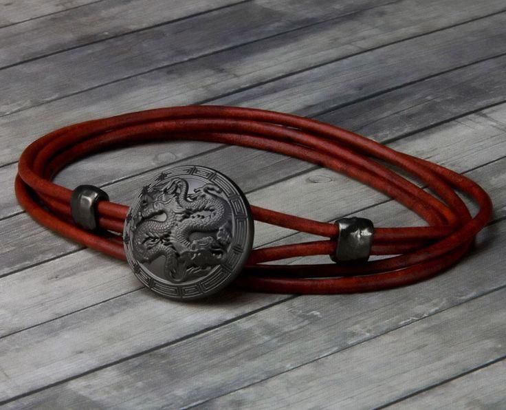 Double Dragon Leather Bracelet – Leather Wrap Bracelet - Leather Bracelet - Mens Leather Bracelet - Womens Leather Bracelet – Dragon Jewelry by TheSonderShoppe on Etsy https://www.etsy.com/listing/269868353/double-dragon-leather-bracelet-leather
