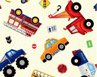 Vrachtwagen zeildoek, Truck Stop, gooide auto's, Firetrucks, Dump Trucks, jongen weefsel, door Fabri Quilt Inc, 30391