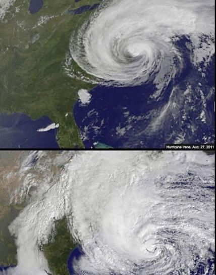 Wow, Irene vs. Sandy. Not even close in size.