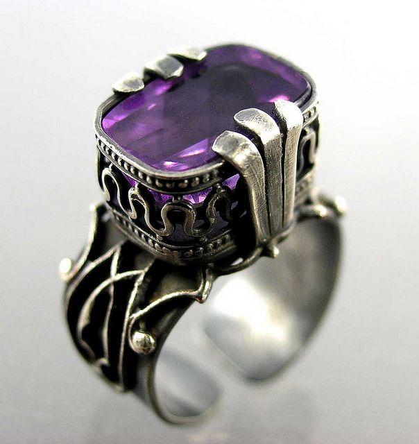 Nancy L.T. Hamilton, amethyst and sterling silver ring. MY BIRTHSTONE, BEAUTIFUL.