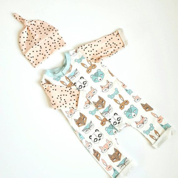 Organic newborn take home outfit. Animal masks pink by BabyNell