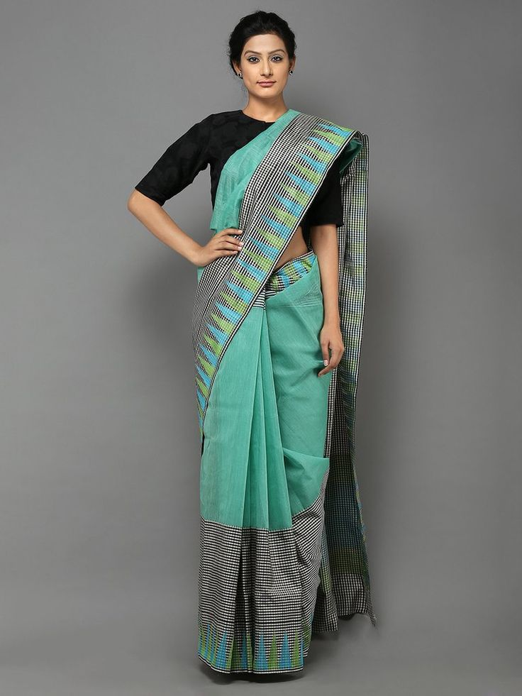 Black Sea Green Handwoven Banarasi Cotton Silk Saree