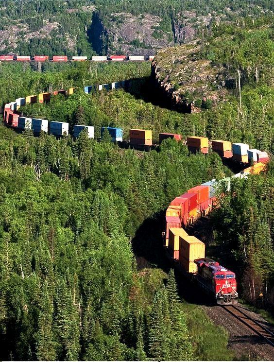 Train in Northern Ontario,Canada