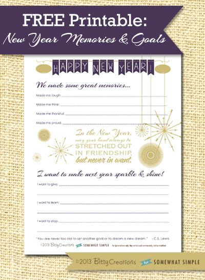 Free New Year memories + resolutions printable from SomewhatSimple! This is so beautiful!