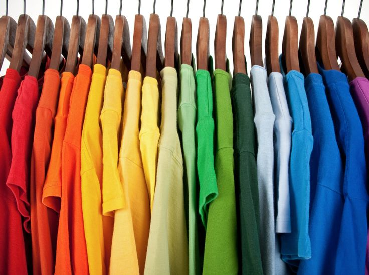 Organized wardrobe by colours