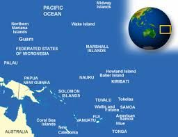 Here you can see Tuvalu on the world map. It's north of Fiji and south of Nauru and Kiribati.