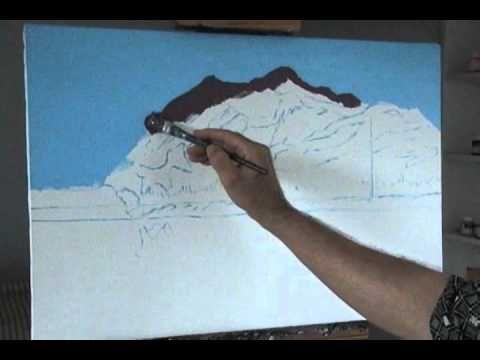 Hoe maak je een berg en meer 3 een met behulp van acryl op doek schilderen - YouTube